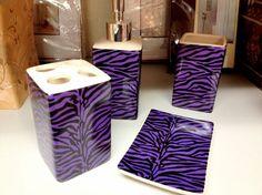 Purple Zebra Print Bathroom Accessories