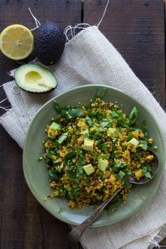 Healthy Curried Quinoa with Spinach and Avocado for Lunch!!!!!