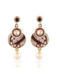 New Design Maroon & Off White Earrings For Women's