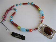 Red Agate Beaten Silver Pendant Necklace with pearls and stone