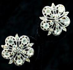 Coro Clear Rhinestone Vintage Clip Earrings by DianaKirkpatrickArt, $18.00