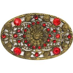 1920s Czech Red Rhinestone Amazing Filigree Brooch