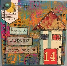 "Our Story. 6 x 6 x 3/4"" Original Mixed Media on Art Board. Gelli print papers, pen, ink, paint, collaged elements. One of a kind handmade."