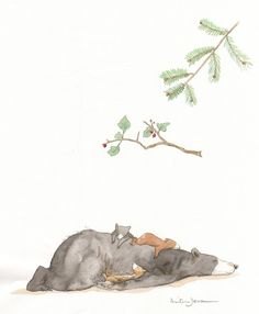 Baby bears aslepp on mother bear.
