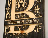 Last Name Initial, Letter B Sign, Split Letter, Engraved Wood Sign, Wedding Gift, Housewarming Gift, Anniversary Gift