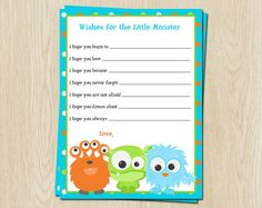 Monster Baby Wishes Cards Lil Monster Inc by TheInviteLadyShop, $15.00