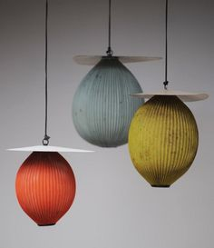 HOW ABOUT 3 VIETNAMESE SILK LANTERNS FOR THE PENDANTS AT THE WAITING ARE? (NOT THESE OF COURSE) Mathieu Matégot Satellite pendant lamp - jousse-entreprise via atticmag