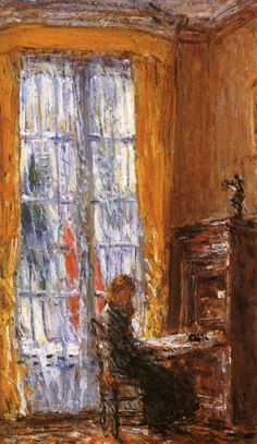 At the Writing Desk - Childe Hassam (American, Impressionism Monet, Emil Nolde, American Impressionism, Art Desk, Poster Prints, Art Prints, Oil Painting Reproductions, Fine Art, Whistler