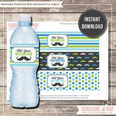 INSTANT DOWNLOAD - Mustache Water Bottle Label - Little Man Bottle Wrappers - Moustache Bash Gentleman Blue Green Decorations Party Package