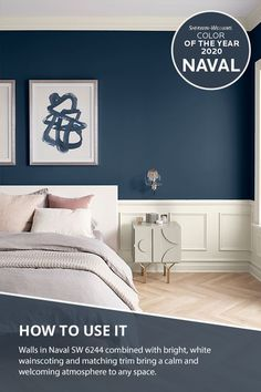 Do you dream in color? With the Sherwin-Williams 2020 Color of the year, now you can. Bedroom walls painted in Naval SW 6244 combined with bright, white wainscoting and matching white trim creates a… Blue Master Bedroom, Home Bedroom, Dark Blue Bedroom Walls, Navy Blue Bedrooms, Blue Paint For Bedroom, Blue Painted Rooms, Best Color For Bedroom, Master Bedroom Color Ideas, Basement Bedrooms