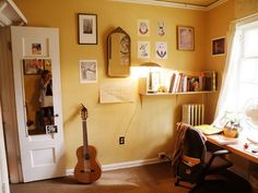 A lovely student room - one of my favorite wall colors ever.