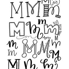 From m font, calligraphy m, m letter design, doodle Doodle Fonts, Doodle Lettering, Creative Lettering, Lettering Styles, Brush Lettering, Lettering Design, Doodle Art, Alphabet Logo, Hand Lettering Alphabet