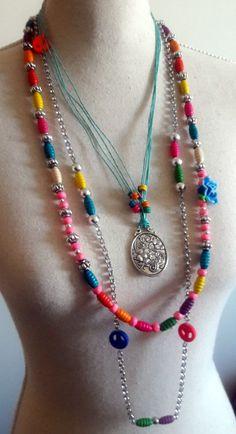 Ornamenta Necklace Fashion Boho Multicolor Beads Tassels Multistrand For Women hmwQ9vP