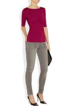 Vivienne Westwood Anglomania|Sihu draped stretch-jersey top|NET-A-PORTER.COM
