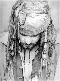 No introduction needed? Johnny Depp Captain Jack Sparrow.  Try your pencils out on this picture!