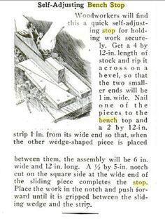 Self-Adjusting Bench Stop. Popular Mechanics, circa Oct. 1931, page 688. Original URL - http://books.google.com.ph/books?id=vuQDAAAAMBAJ=PP1=PA688_esc=y#v=onepage=false