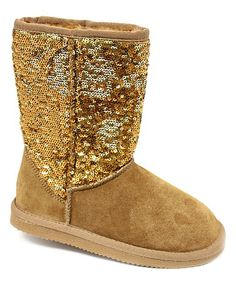 a9488679d844 Look at this Gold Suede Sequin Boot on #zulily today! Ugg Boots, Bearpaw