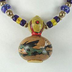 Authentic Native American Bottle Neck Mini Gourd Horse Spirit Rattle Necklace By Lakota Alan Monroe Native