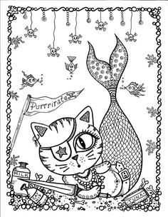 MerKitties Coloring Book pages colouring adult detailed advanced printable… Adult Coloring Pages, Mermaid Coloring Pages, Cat Coloring Page, Printable Coloring Pages, Colouring Pages, Coloring Books, Zentangle, Pirate Cat, To Color