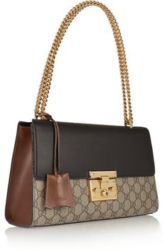 Beige and dark-brown coated canvas, black and brown leather (Calf) Push clasp-fastening front flap Weighs approximately Made in Italy Women's Handbags & Wallets Gucci Handbags, Fashion Handbags, Fashion Bags, Gucci Bags, Gucci Shoulder Bag, Leather Shoulder Bag, Celine, Cute Bags, Luxury Bags