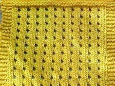 Cast on in Muliples of 3 + 2  (so 8, 11, 14, 17, ...)  until desired width of dishcloth.    Row 1: (right side) Knit    Row 2: Purl    Row 3: K2, *YO, K2tog, K1; repeat from * to end    Row 4: Purl    Repeat these 4 rows until desired length.  Bind off.