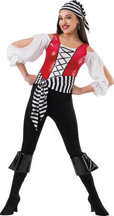 Red mini disc velour and black lycra leotard with white crepe inset and sleeves. Separate black lycra pants and striped lycra belt. Buckle and ribbon trim. Made in the USA. Fabric headpiece and boot covers with cuff included S | I | M | L | XL | XXL | CHILD S | M | L | XL | XXL | ADULT