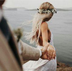 bohemian bride wearing flower crown and lace wedding dress with spaghetti straps bohemisk brud som b Wedding Goals, Wedding Couples, Trendy Wedding, Wedding Pictures, Boho Wedding, Perfect Wedding, Wedding Day, Wedding Beach, Beach Wedding Photos