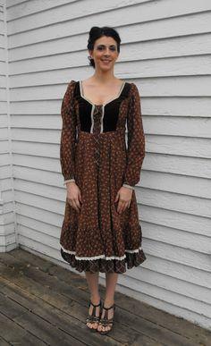 Gunne Sax Dress Brown Print Vintage 70s Boho Prairie by soulrust, $79.99