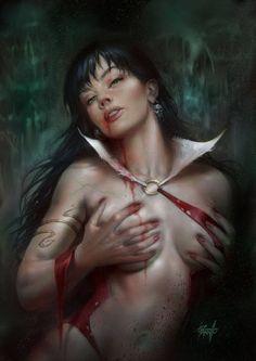 "redskullspage: "" Vampirella variant by Lucio Parrillo "" Forgotten Realms, Red Sonja, Spiderman Art, Amazing Spiderman, Coven, Magic The Gathering, Dungeons E Dragons, Goblin Art, Sexy Horror"