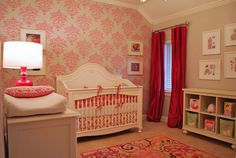 Pretty in Pink #Nursery for #BabyGirl - love the wallpaper accent wall!