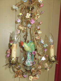 Shabby Antique Birdcage Chandelier French Italian Ormolu Tole Porcelain Flowers   eBay