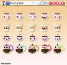Kawaii Coffee Mugs clipart - kawaii Coffee digital graphics perfects for planner stickers - dividers - paperclips - cute stickers