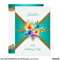 Any age Birthday Party teal blue gold white Floral Invitation blue, Elegant Birthday Party, Gold Birthday Party, Birthday Woman, Birthday Gifts, Bachelorette Party Invitations, Quinceanera Invitations, Birthday Invitations, Invites, Party Stores