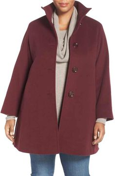 fbb04b1cdc3 Cinzia Rocca DUE A-Line Wool Blend Stand Collar Coat (Plus Size) Plus