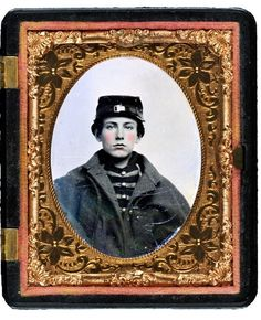 Unidentified young soldier in Union musician's uniform and coat in case. Liljenquist Family Collection of Civil War Photographs; Ambrotype/Tintype photograph filing series; Library of Congress