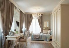 schlafzimmer mit schönen gardienen