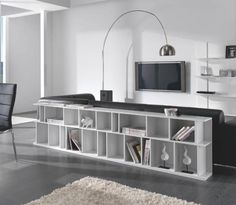 Caty, contemporary horizontal bookcase in a choice of gloss or matte colour finishes