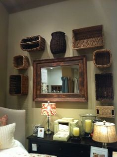 Decorating with baskets. Wouldn't have thought of this myself.