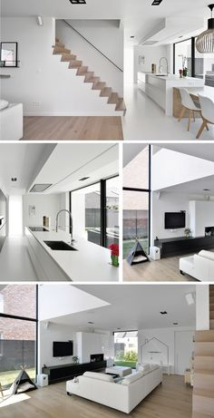 Sleek modern interior with lots of white and black accents combined with wood. - Home Decoraiton Minimalist Interior, Minimalist Home, Interior Modern, Living Room Modern, Home And Living, Interior Design Living Room, Living Room Designs, Casas Country, Modern House Design