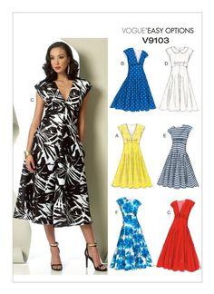 Vogue V9103 raised-waistline dresses