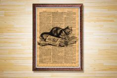 Cat print Animal poster Cabin decor by CrowDictionaryPrints