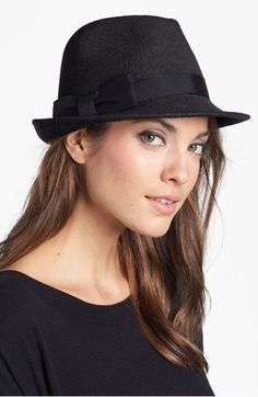 Nordstrom Wool Felt Trilby Hat available at - she even looks like you! Fedora Hat Women, Trilby Hat, Hair Accessories For Women, Winter Accessories, Types Of Hats, Cowgirl Hats, Diy Schmuck, Affordable Clothes, All About Fashion
