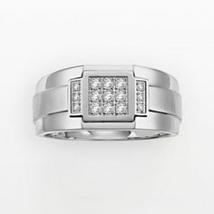 Cherish Always Stainless Steel 1/5-ct. T.W. Diamond Wedding Band - Men- hubby's wedding band =) love i!!t it matches my ring <3