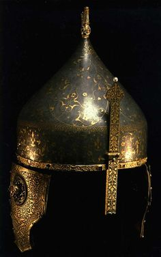 Embellished medieval helmet showing an exotic eastern influence   State Armoury Chamber!