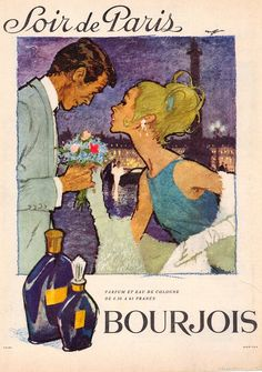 Soir de Paris 1964- HOF Vintage Advertisements, Vintage Ads, Bourjois, Elegant Couple, Art World, Illustration, Baseball Cards, Advertising, Collections