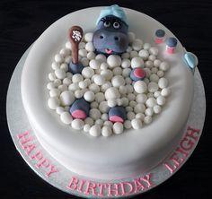 hippo in a hot tub birthday cake