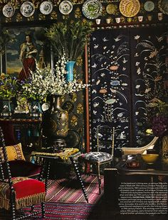 This room successfully combines layers of patterns, colours and fabrics without being overwhelming.