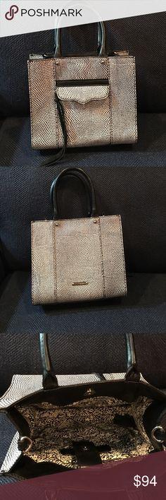 Black and White Rebecca Minkoff mini tote Black and white mini tote with removable strap.  Excellent condition. Rebecca Minkoff Bags Mini Bags