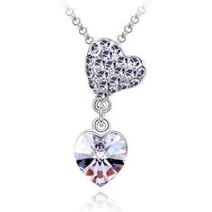 Violet Austrian Crystal Double Heart Silver Necklace !. Starting at $1 on Tophatter.com!
