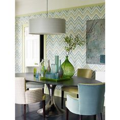 What a great space to cozy up in and be surrounded by coastal colors!  I love the Sanderson Zigzag Wallpaper.